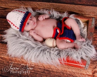 Baseball hat and diaper cover- Photography Prop - Newborn Prop-Handmade Baby Shower Gift