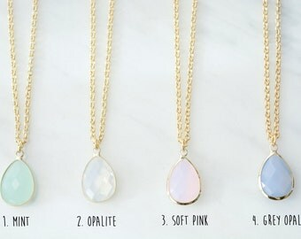 Long necklace with crystal pendant, 4 colors