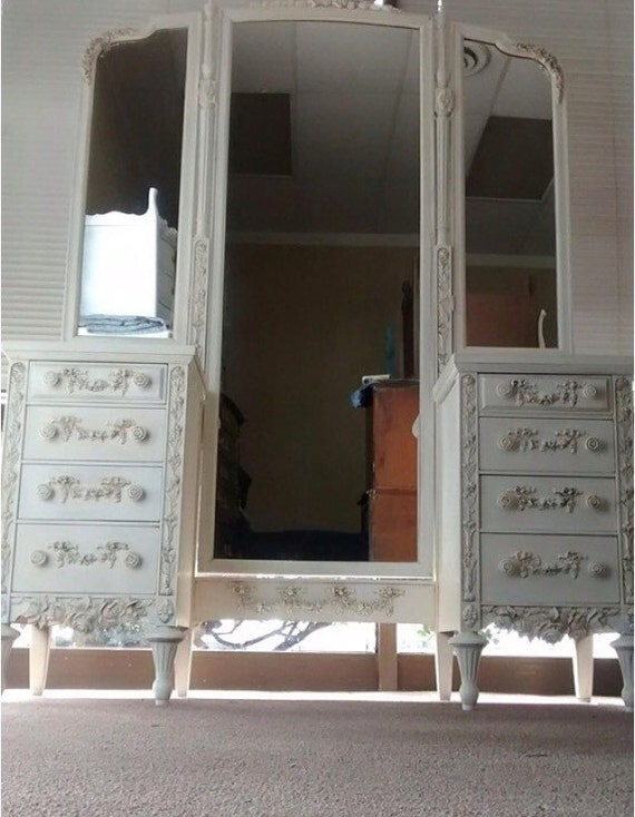 Vanity dresser with long trifold mirror by for Long antique mirror