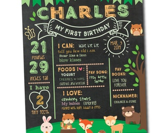 Woodland First Birthday Milestones Chalkboard Poster - Hedgehog - Squirrel - Deer - Bear - Fox - Bunny - Owl Printable DIY (Digital File)