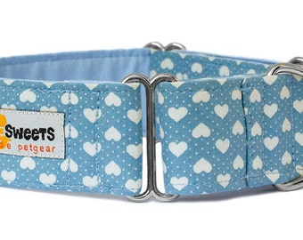 "Noddy & Sweets Adjustable Martingale Collar [1"", 1.5"", 2"" Blue Hearts]"