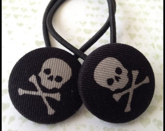 28mm covered button ponytail holder pair - skull hair tie - gothic ponytail elastic - hair elastic - Jolly Roger - pirate accessorie - punk