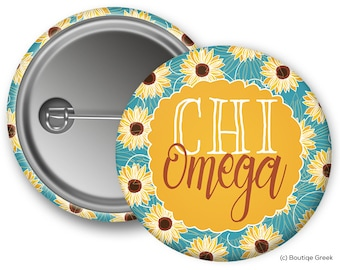 ChiO Chi Omega Sunflower Sorority Greek Button