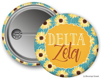 DZ Delta Zeta Sunflower Sorority Greek Button