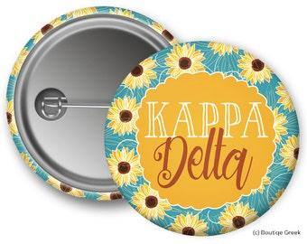 KD Kappa Delta Sunflower Sorority Greek Button