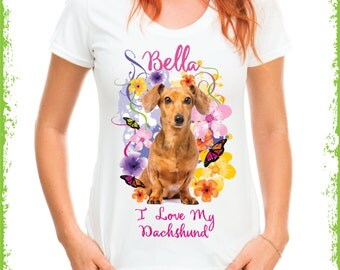 Personalized I love my dachshund T-shirt, personalized dog shirts, dachshund shirts in adult and children's sizes,