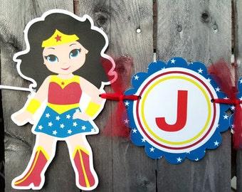 Girl Superhero Birthday Banner - Superhero Party Banner