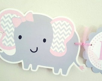 Elephant Baby Shower Banner, Elephant Birthday Banner, It's a Girl Banner, Chevron Elephant Banner, Pink and Grey Banner