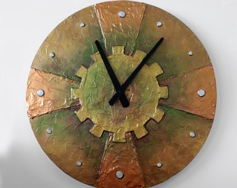 Original Painting Large STEAMPUNK WALL CLOCK, Unique Clock, copper clock industrial clock Steampunk home decor man cave
