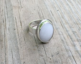 Sterling Silver Ring, Wide Band Silver Ring, White Quartz Ring, Statement Ring, Silver Ring, Size 7 Ring, Gemstone Ring