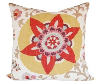 Kaufmann Medallion Suzani Decorative Pillow Cover - Throw Pillow - Both Sides - 12x16, 12x20, 14x18, 14x24, 16x16, 18x18, 20x20