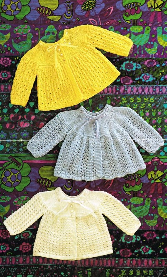Knitting Patterns Hats For Beginners : baby matinee coat vintage knitting pattern PDF instant