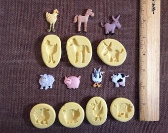 Set of 7 farm Animals Silicone molds