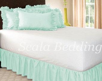 Dust Ruffle Bed Skirt 800 TC 100% Egyptian Cotton Aqua Select Size