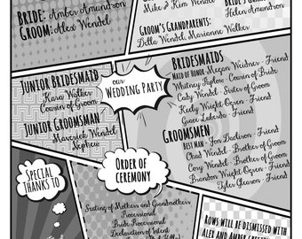 Comic Wedding Program - B&W - Custom design
