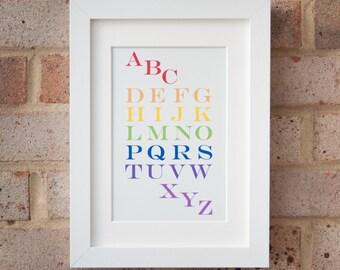 Alphabet, Rainbow - Gicleé print