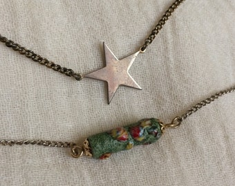 Two Old Necklaces - Vintage Glass & Star