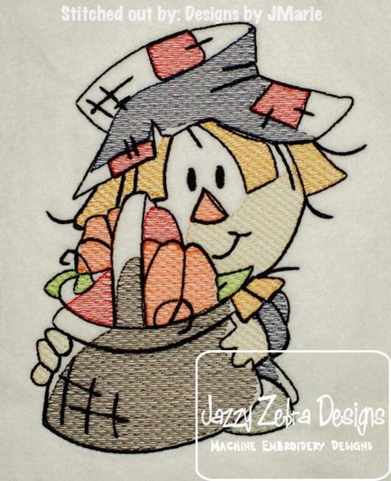 Scarecrow Sketch Embroidery Design - Fall Sketch Embroidery Design - Thanksgiving Sketch Embroidery Design - scarecrow Sketch Embroidery