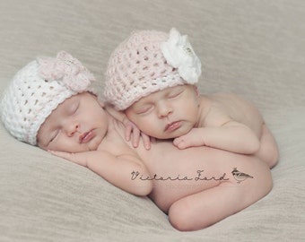 Twin Girls beanies/Newborn twins hats/Girls flower beanies/Twin baby hats/Crochet Baby Hats/Baby Girl Hat/Newborn Twin Hats/Infant Beanie