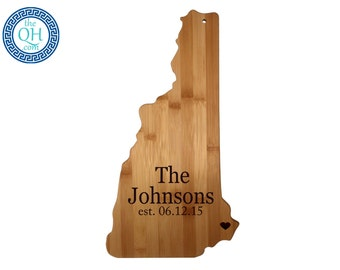 New Hampshire State Shaped Cutting Board Personalized Wedding Moving New Home House Housewarming Host Hostess Closing Unique Gift