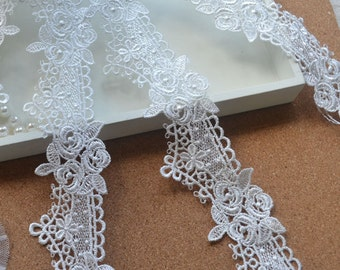 2 yards Lace Trim Rose Black White Lace Trim 1.77 Inches Wide