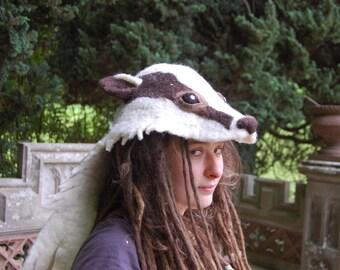 Badger hood - felted animal hat - festival costume - creative fancy dress