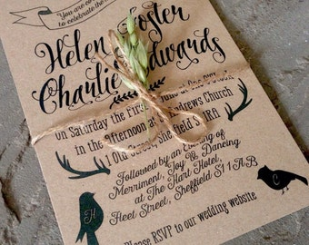 Rustic Woodland Bespoke Personalised Wedding Invitations