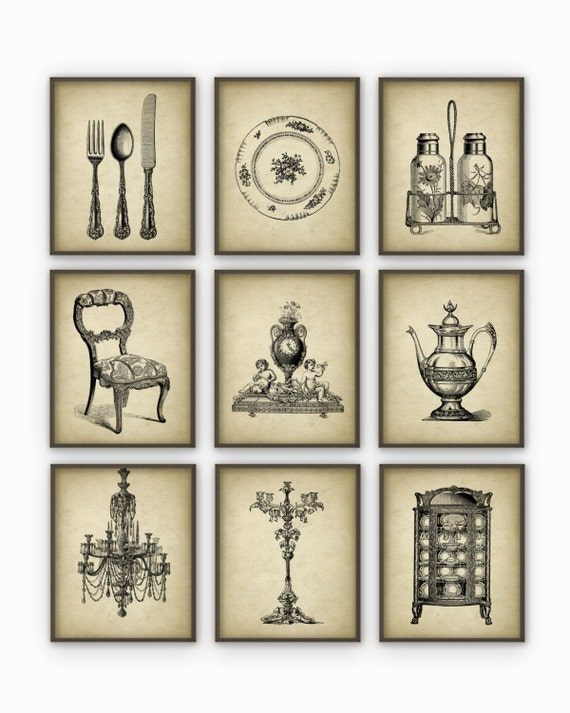Dining room art prints set of 9 vintage home decor for Dining room vintage wall art