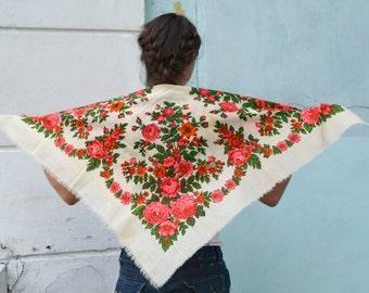 Vintage Ukrainian shawl, Russian Floral Scarf ,russian shawl, floral scarf, head scarf, white green shawl, wedding shawl
