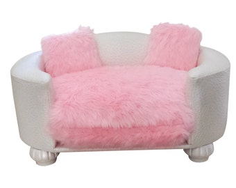 Pink and White Luxury Pet Bed, Dog Bed