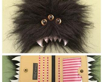 Heebie Jeebie Small Black Furry Bi-Fold Wallet