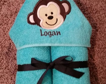 Personalized Monkey Hooded Towel