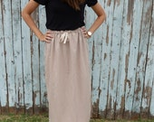 Long Linen Drawstring Tan Midi Skirt (Small / Medium)