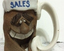 Mark Hines Mug Art Pottery Face Mug Salesman Humorous Stoneware Vintage Cup Stoneware Studio Vintage