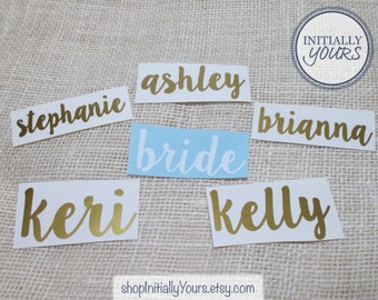 Bridal Party Vinyl Decal, DIY Wedding, Vinyl Stickers, Tumbler Cup Decals, Champagne Glass Decal, DECAL ONLY