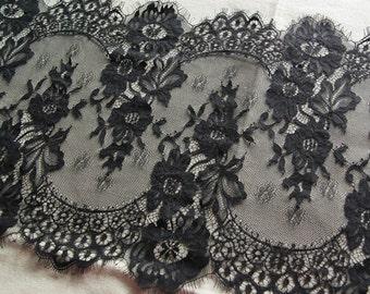 Chantilly Lace fabric trim eyelash lace trim black french lace fabric