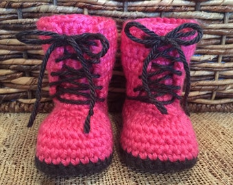 Crocheted combat boots, baby boots, baby gift, baby accessory, hot pink boots, baby booties, combat boots