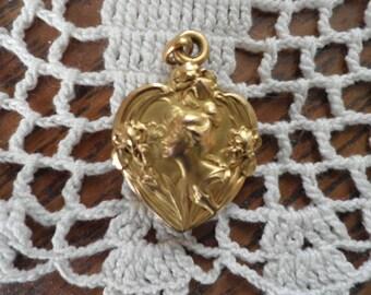 "Antique Art Nouveau French Gold ""FIX"" Slide Heart Locket with Mirror"