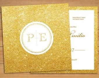Wedding Invitation Golden - Wedding - Invitation - Stationery - DIY Wedding - Digital file