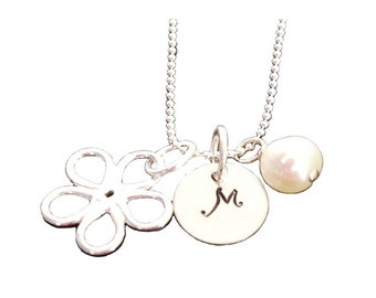 Hand Stamped Jewelry - Personalized Sterling Silver Mommy Necklace -  Tinny Initial with Daisy Charm