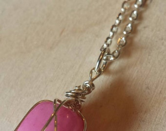 Wire Wrapped Pink Stone Necklace