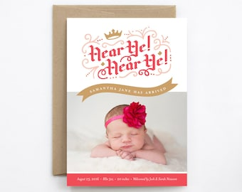 Girl Birth Announcement - Hear Ye! Hear Ye! in Gold & Pink