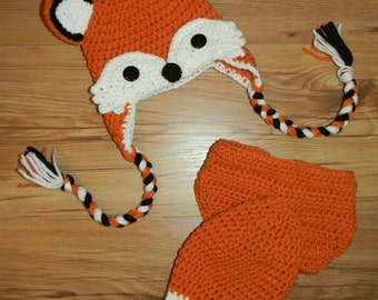 Crochet Finished Fox Prop Newborn -3 Month