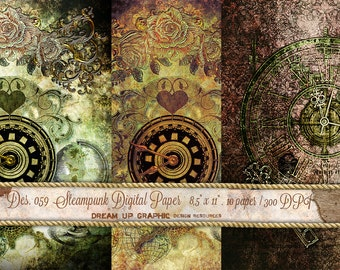 Steampunk Digital Paper Pack. Vintage digital paper. Digital Steampunk old Paper. Steampunk Texture background. Old digital sheet Des 059