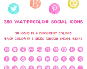 360 Watercolor Social Media Icons // Neon Colors // Commercial Use // Instant Download