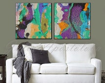 48''x24'', Diptych painting, Abstract Print, Purple Artwork, Large Wall Art, Purple and Turquoise, large abstract art, landscape painting