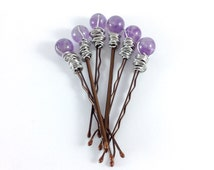 Genuine Amethyst Hair Pin Set, Purple Hair Accessories, Lavender Stone Bobby Pins, Silver Wire Wrapped Round Bead Gemstones