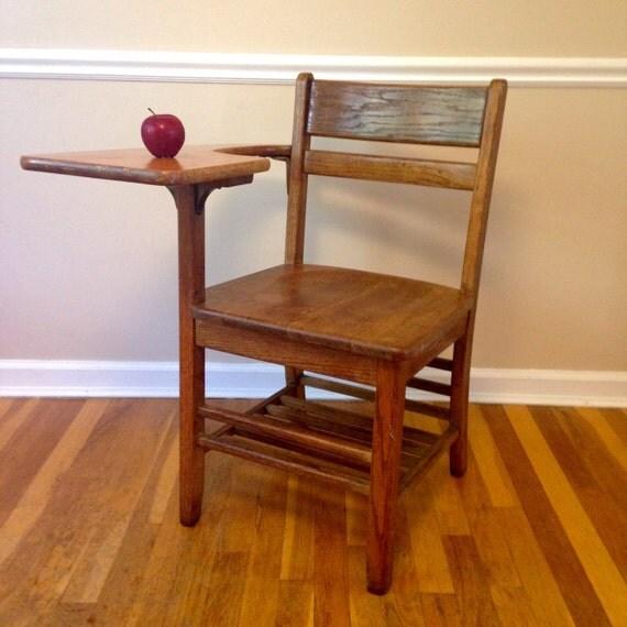 vintage wood student desk