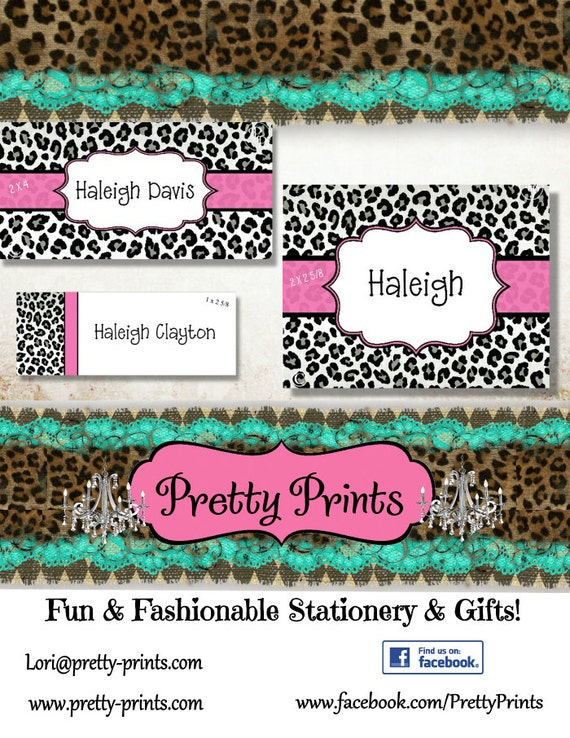 Leopard Labels, School Labels, Cheetah, Black, Animal Print, Leopard, Personalized Stickers, Labels, Custom Labels, Personalized Labels