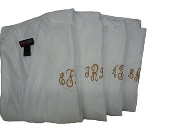 Custom Designed Monogrammed Bathrobes Personalized names, initials, artwork Christmas Gifts Terry Loop Travelers Robes